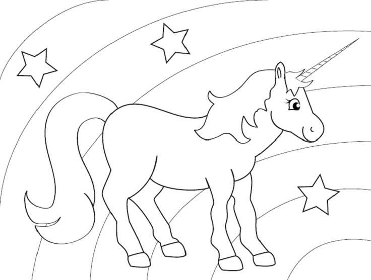 736x557 Rainbow Unicorn Coloring Sheet