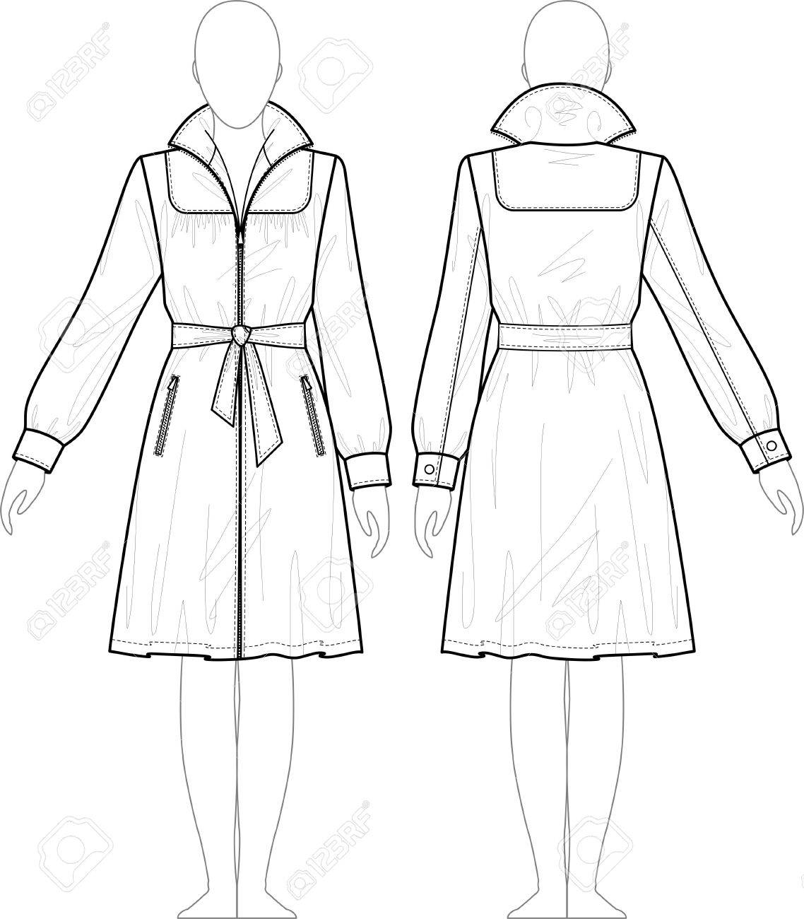 1138x1300 Raincoat Female With A Collar And Pockets Royalty Free Cliparts