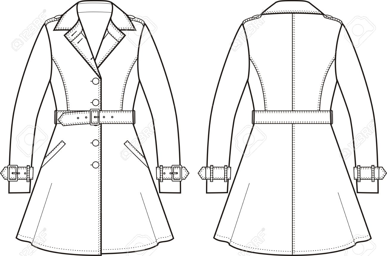 1300x860 Vector Illustration Of Womens Trench Coat. Front And Back Views