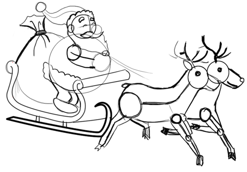 500x348 How To Draw Santa Clause Amp Reindeers And Flying Sleigh