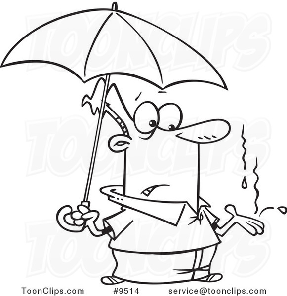581x600 Cartoon Black And White Line Drawing Of A Guy Catching Raindrops
