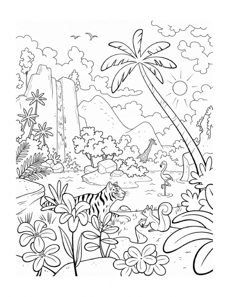 791x1024 Black And White Drawing Of Rainforest How To Draw A Canopy