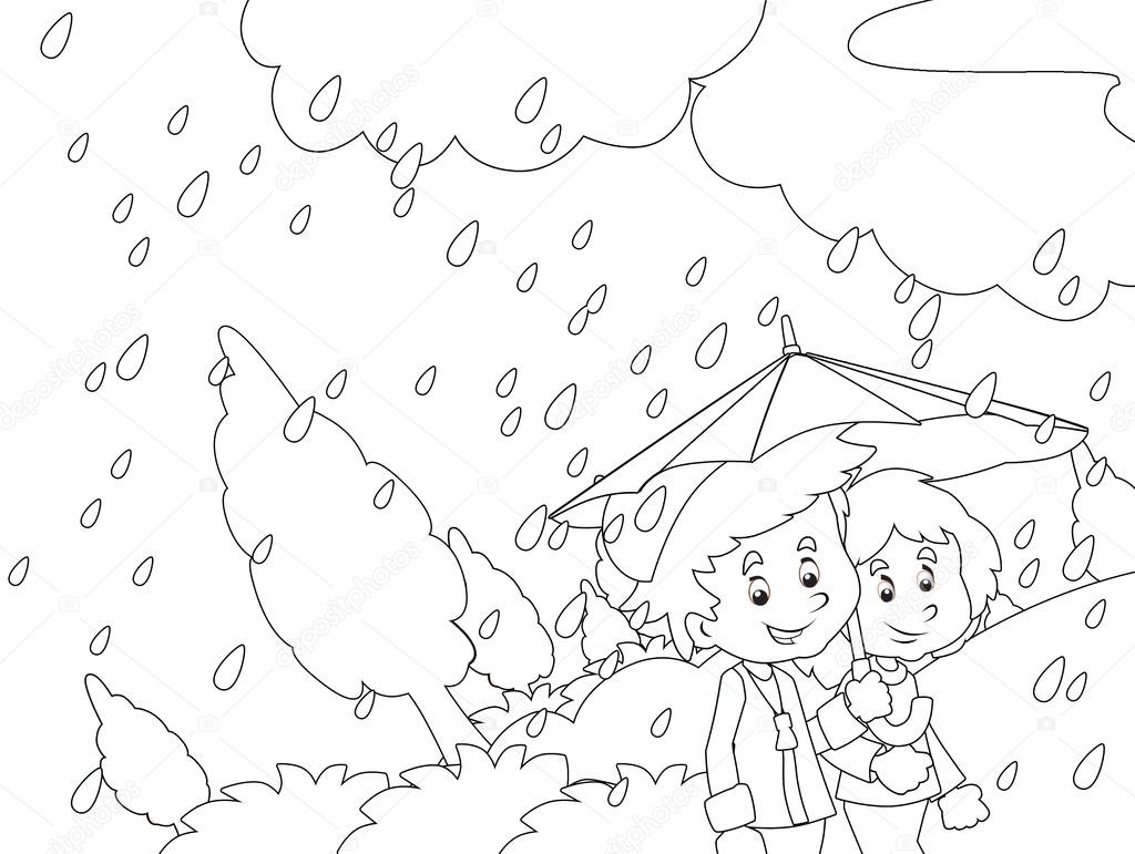 1024x771 The Rainy Day In Autumn Coloring Page Stock Photo