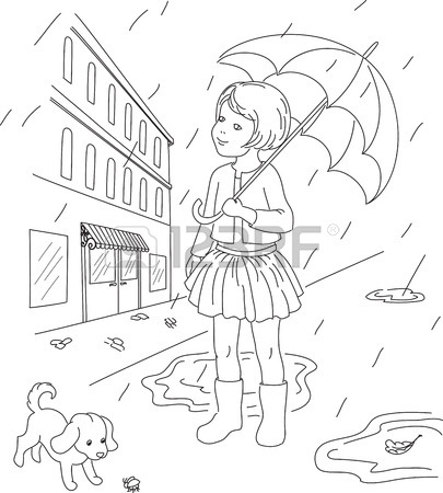 405x450 Coloring Page Happy Kids Royalty Free Cliparts, Vectors, And Stock