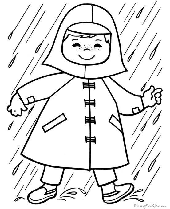553x678 Rain Clipart Colouring Page