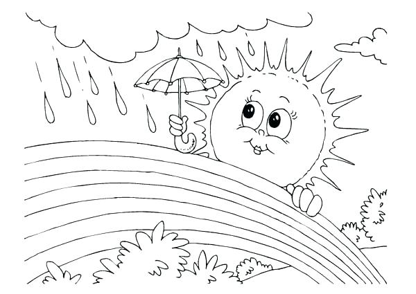 600x425 Coloring Page Sun Rainy Day Pages And Rain