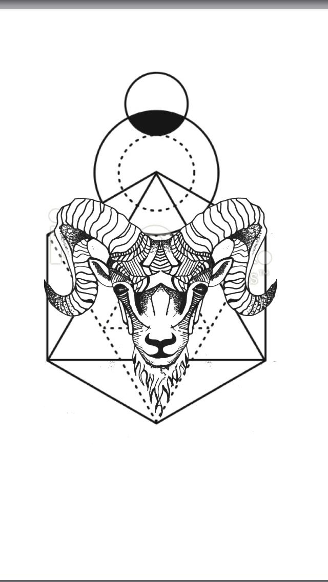 640x1136 Geometric Animal Tattoo Aries Ram