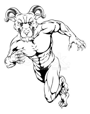 347x439 Sprinting Ram Mascot Stock Vector