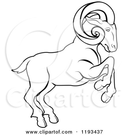 450x470 Clipart Of A Black And White Line Drawing Of The Aries Ram Zodiac
