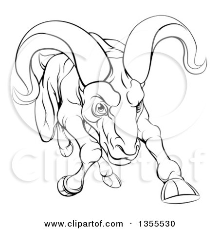 450x470 Clipart Of A Black And White Tough Angry Ram Sheep Charging