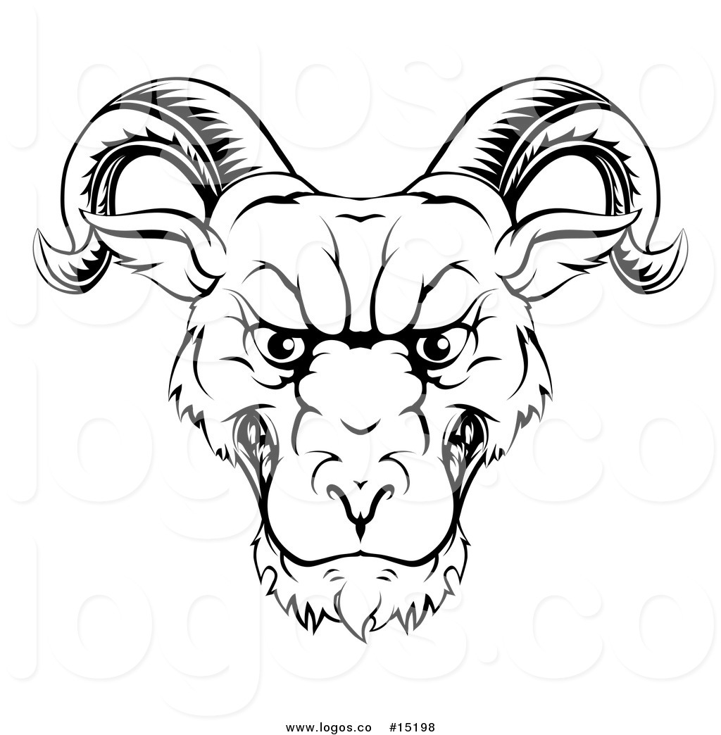 1024x1044 Royalty Free Vector Logo Of A Challenging Ram Mascot Looking