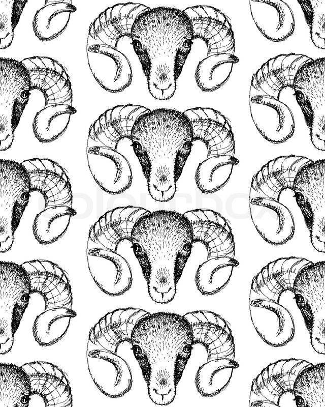 640x800 Sketch New Year Ram In Vintage Style, Seamless Pattern Stock
