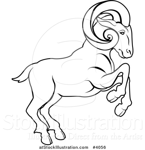 600x620 Vector Illustration Of A Black And White Line Drawing Of The Aries