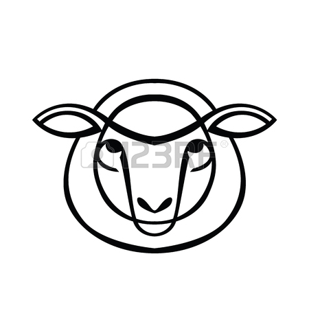 450x450 Color Stylized Drawing Of Sheep Or Ram