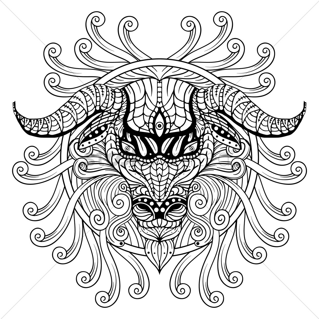 1300x1300 Free Intricate Ram Design Vector Image