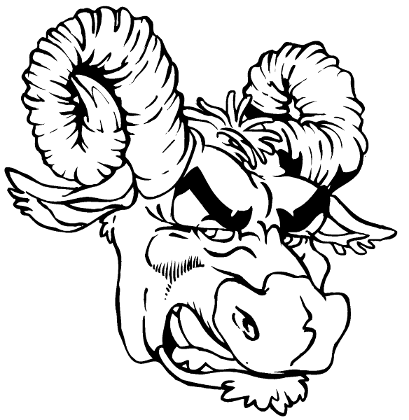584x600 Mascot Decals Rams Mascot Decals Ram Head Decal Sticker