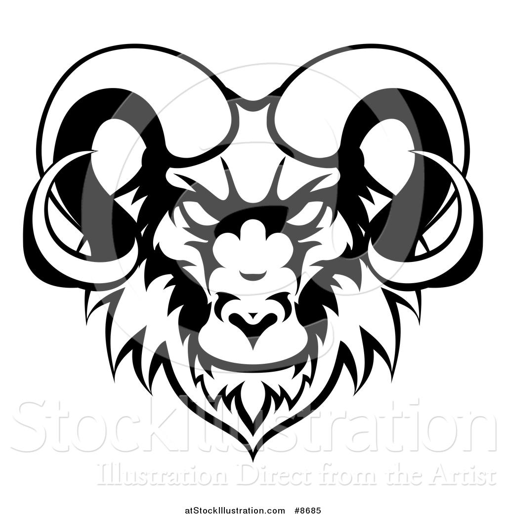 1024x1044 Vector Illustration Of A Black And White Ram Head Mascot By