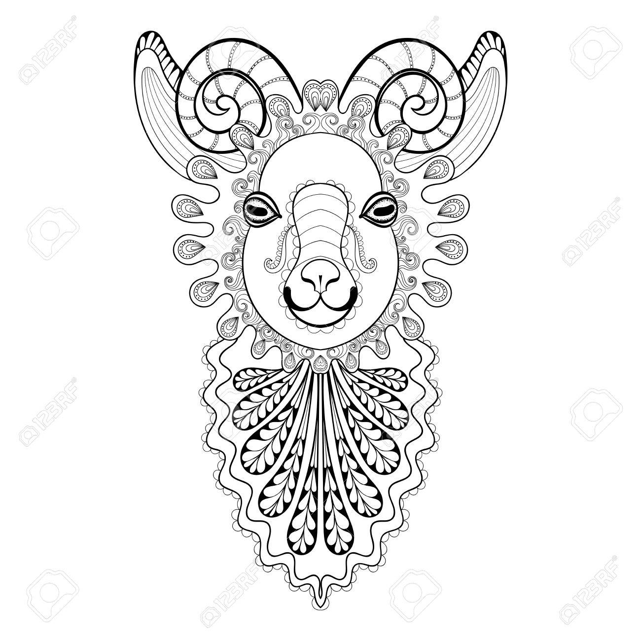 1300x1300 Vector Zentangle Ram Head Illustration, Goat Print For Adult