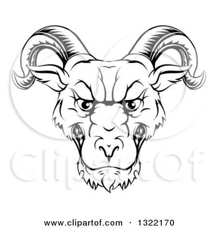 450x470 Clipart Of A Black And White Snarling Ram Head