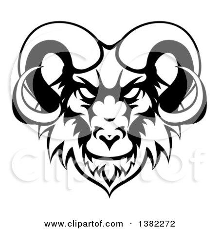 450x470 Clipart Of A Cartoon Demonic Angry Ram Head Mascot
