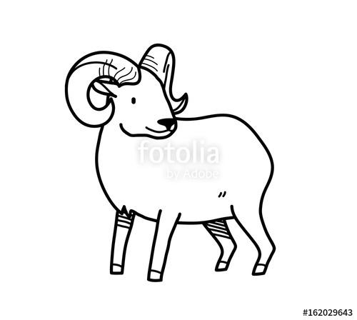 500x448 Ram Doodle, A Hand Drawn Vector Doodle Ram With Big Horns. Stock