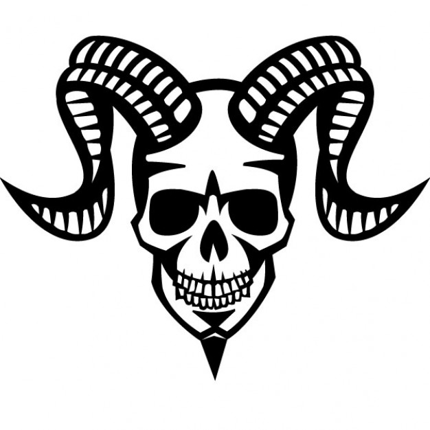 626x626 Smiling Skull With Ram Horns Vector Free Download