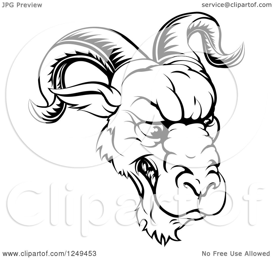 1080x1024 Clipart Of A Black And White Snarling Ram Sports Mascot
