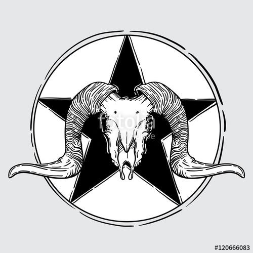 500x500 Ram Skull Vector Illustration. Occult Symbol. Sheepnd Star In