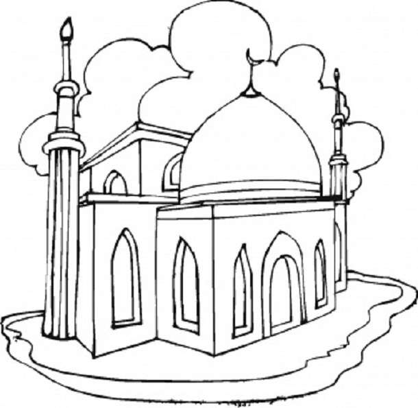 610x595 Mosque Coloring Pages Of Eid And Ramadan Free Coloring Pages