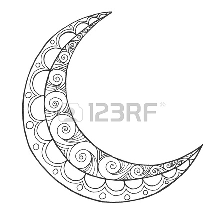 450x450 Ramadan Kareem Half Moon. Greeting Design Coloring Page. Engraved