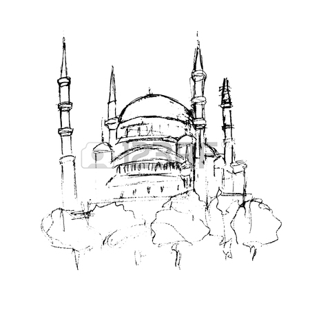 450x450 Traditional Mosque Tower Building Sketch, For Ramadan Kareem