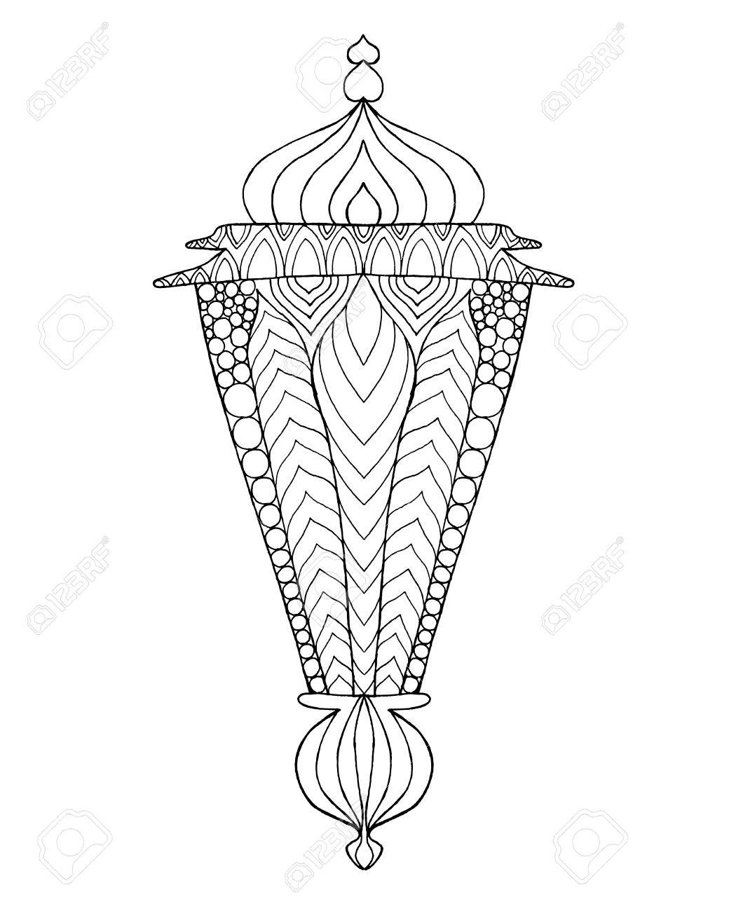 1040x1300 Hand Drawn Traditional Lantern Of Ramadan. Engraved Vector