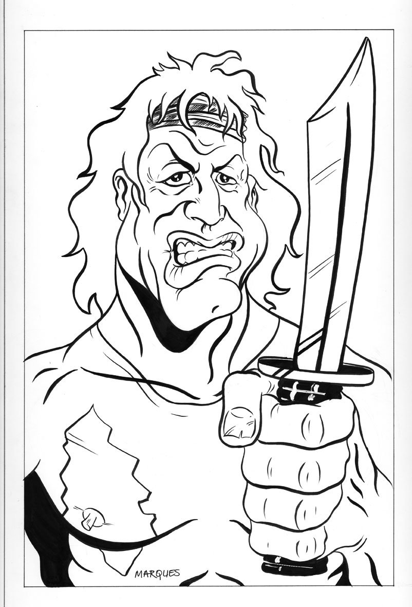 802x1181 Rambo Caricature By Anthonymarques