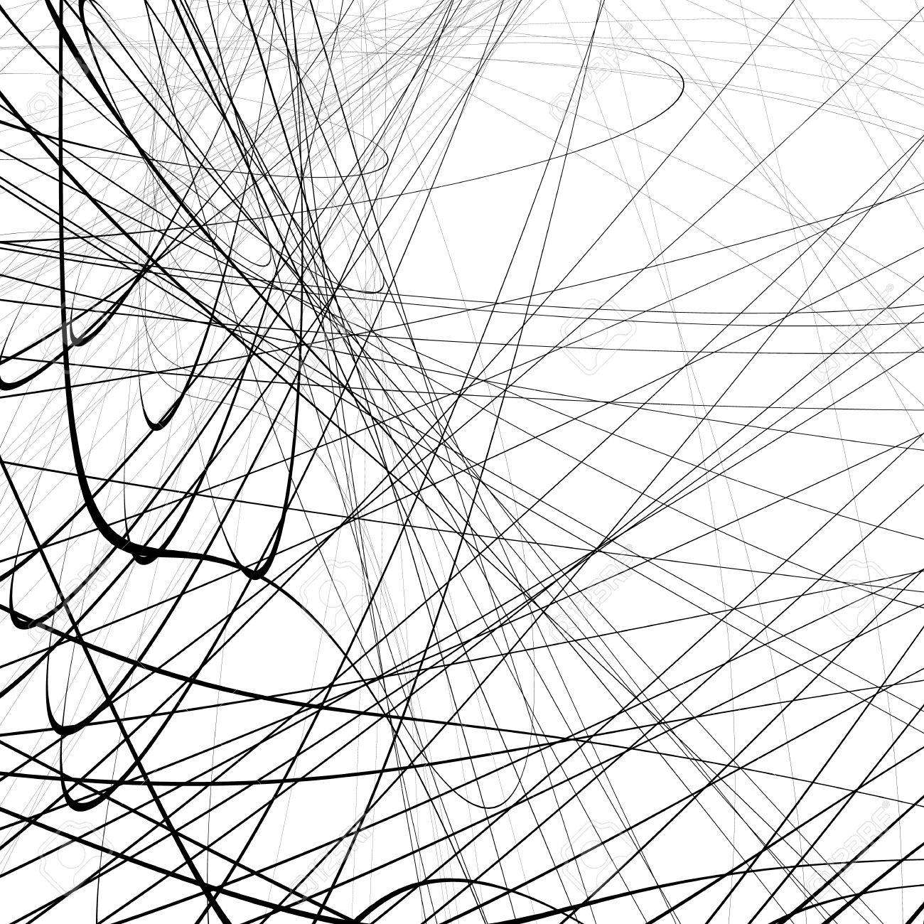 1300x1300 Random Squiggly, Squiggle Intersecting Lines In Chaotic Style