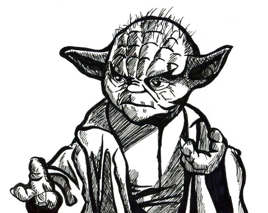 900x717 Yoda Line Drawing By Hanfaw888