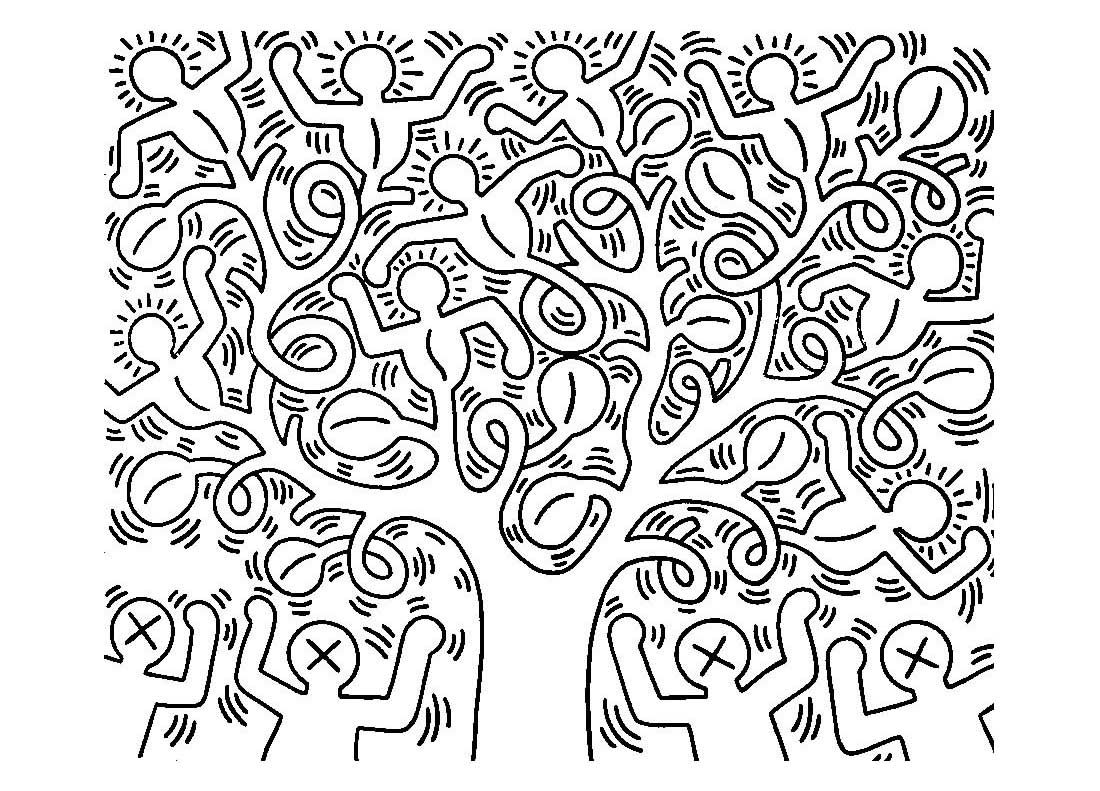 1100x791 Free Coloring Page Adult Keith Haring Keith Haring