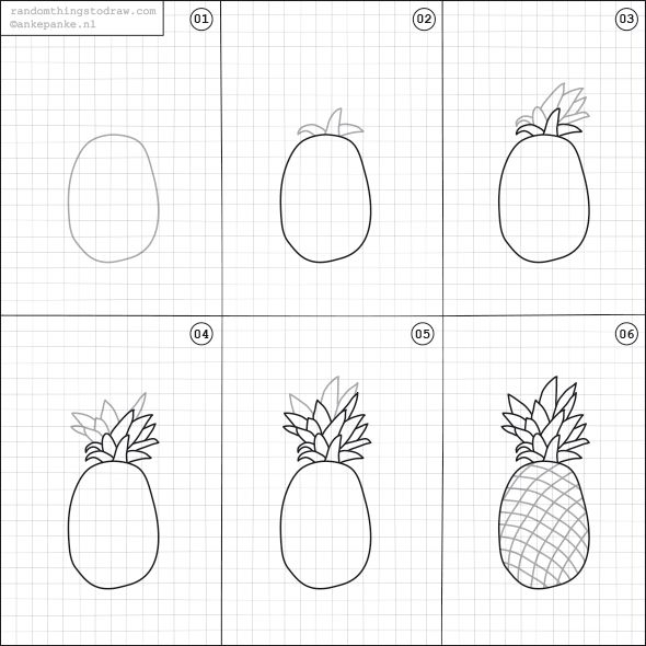 590x590 How To Draw A Pineapple. Doodling Fun Things