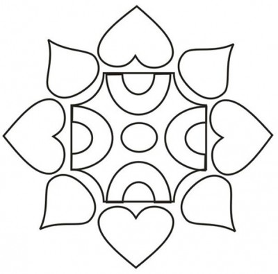 400x395 Coloring Pages Of Simple Rangoli Designs Coloring Pages