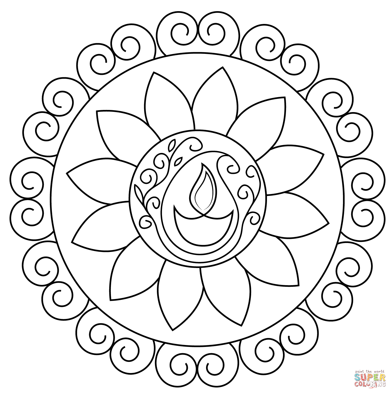1442x1448 Diwali Rangoli Coloring Page Free Printable Pages