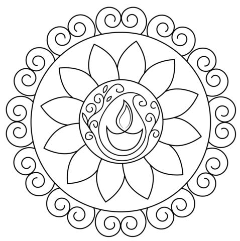 478x480 Diwali Rangoli Coloring Page Free Printable Coloring Pages