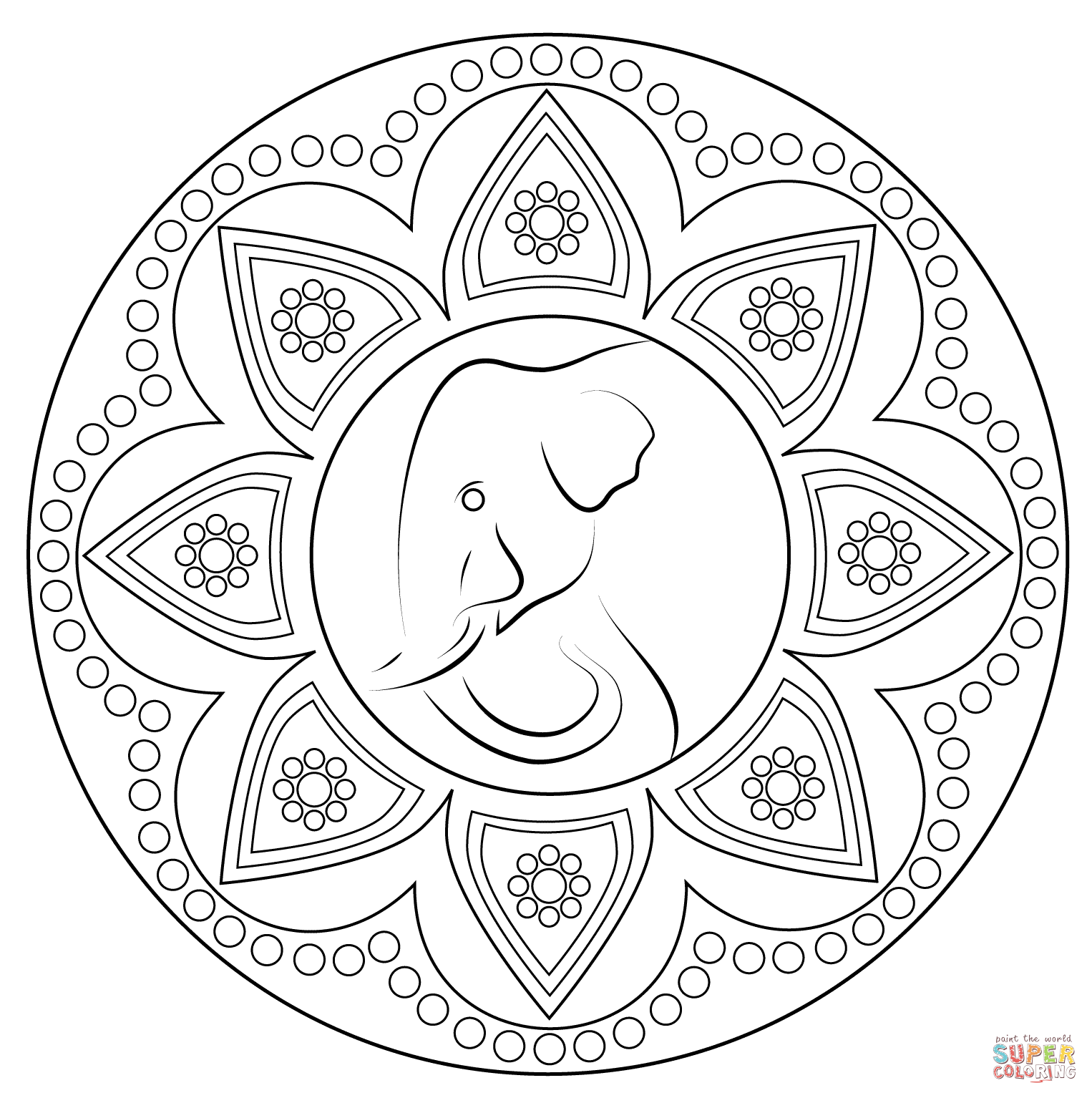 1526x1534 Indian Rangoli With Elephant Coloring Page Free Printable