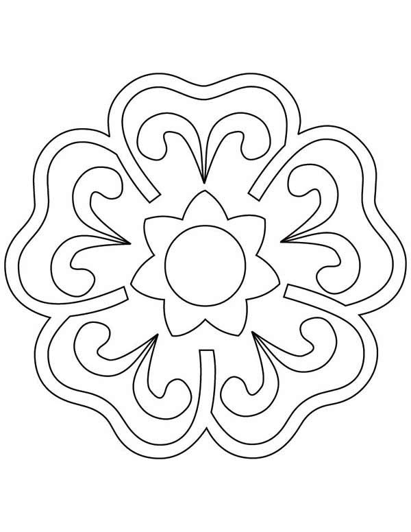 600x776 Blooming Flower Rangoli Coloring Page