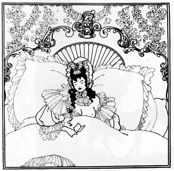 589x576 Belinda In Bed By Aubrey Beardsley. 1896. Photo Reproduction