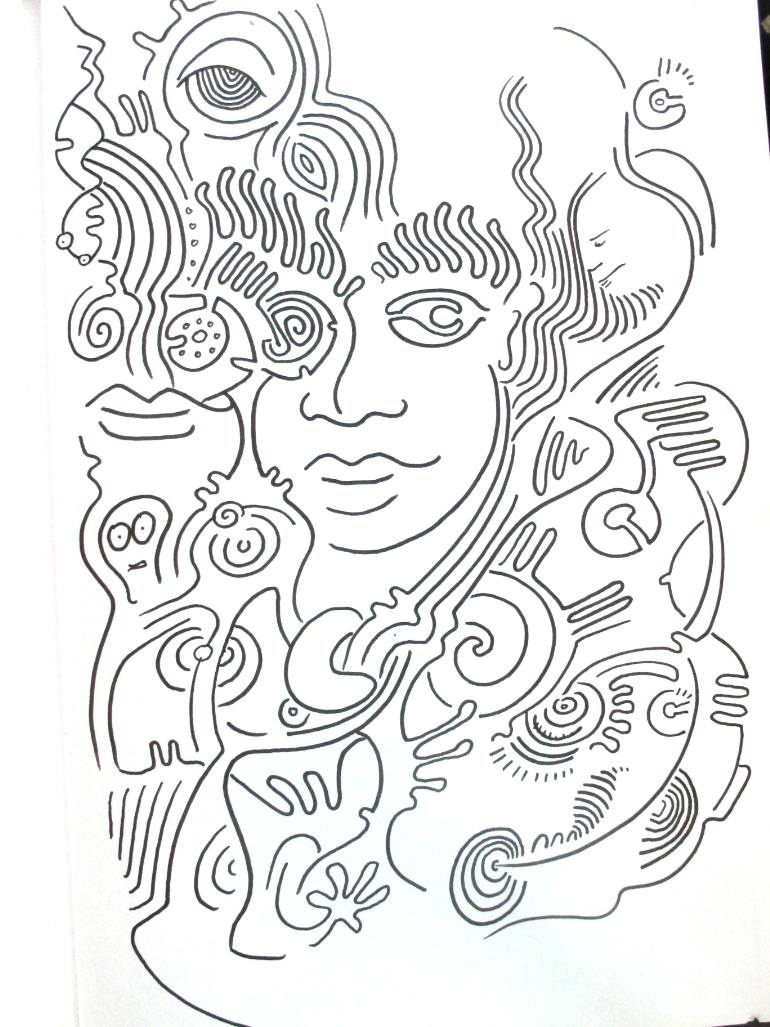 770x1027 Saatchi Art Psychedelic Drawing Book 01 Drawing By Raphael Egel
