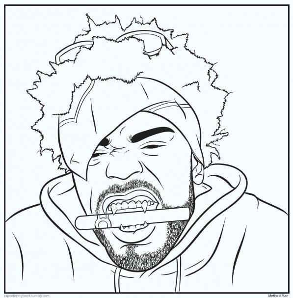 597x607 Rapper Coloring Book Plus Bun B Rap Coloring Book Method Man 29