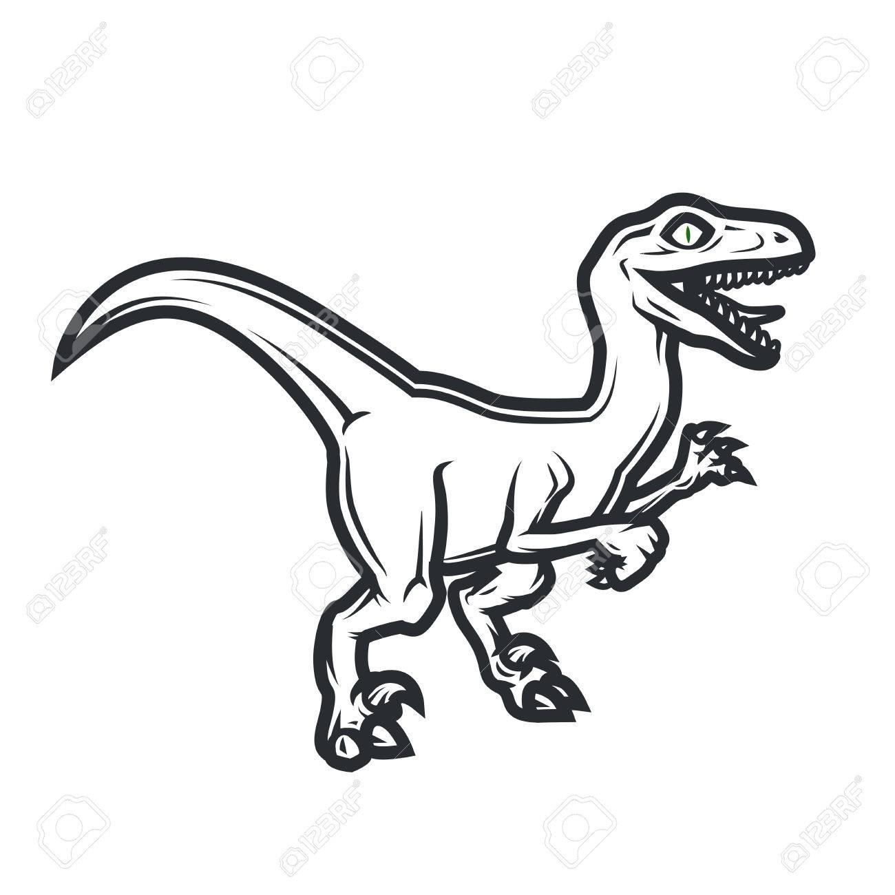 1300x1300 Prehistorical Dino Logo Concept. Raptor Insignia Design. Jurassic