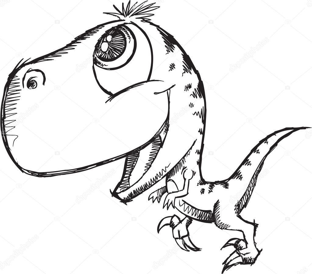 1024x898 Sketch Doodle Cute Raptor Dinosaur Vector Stock Vector