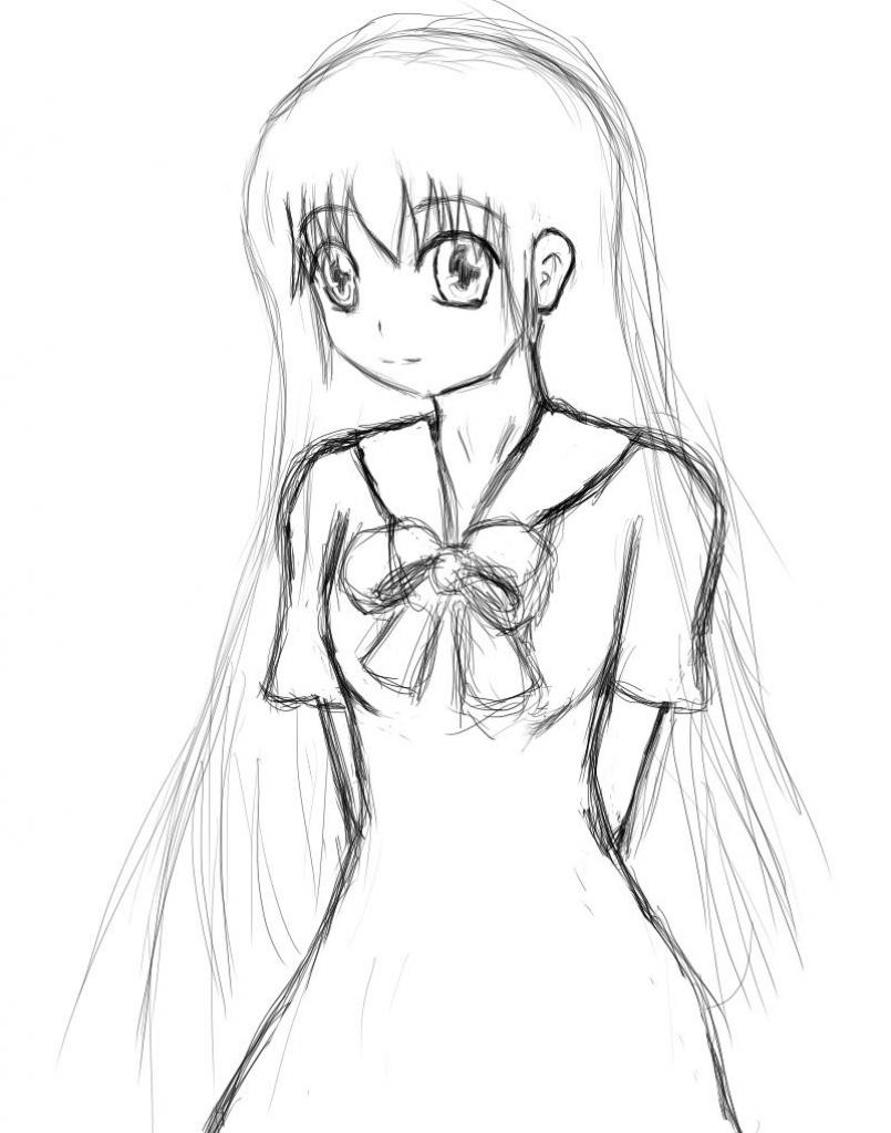 805x1024 Drawing Of A Girl In A Dress Girl In School Dress Raptor Tk