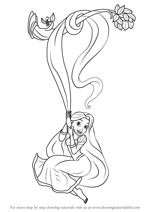 596x843 Learn How To Draw Rapunzel From Tangled (Tangled) Step By Step
