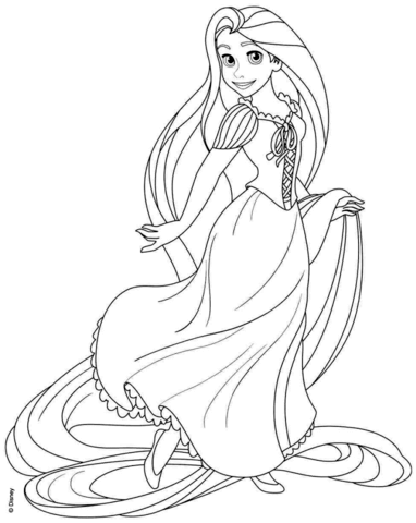 382x480 Rapunzel From Disney Tangled Coloring Page Free Printable